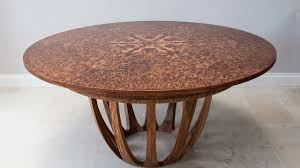 expanding circular dining table in brown oak burr youtube