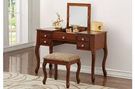 Oak Vanity Table Poundex F4147 Oak Finish Wood Vanity Set Mirror Stool
