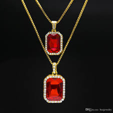 silver necklace ruby images Wholesale ruby necklace set silver gold plated iced out square red jpg
