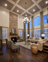 Curtains High Ceiling Decorating Large Living Room With Coffered Ceiling Fireplace