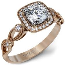rose style rings images Simon g cushion halo vintage style floral engagement ring jpg
