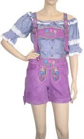 colour purple ladies short bavarian leather pants goat suede colour purple