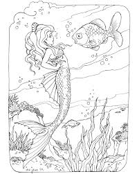mermaid coloring coloring pages adults glum