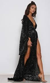maxi dress with sleeves speak your mind black sequin bell sleeve plunge v neck