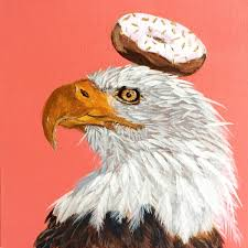 eagle home decor the holly eagle eagle donut painting original animal painting