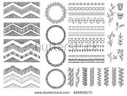set handdrawn seamless doodle borders sketch stock vector