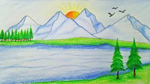 how to draw scenery of mountain step by step very easy youtube