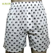 organic herbal dyed unisex innerwear boxer elephant print cambric