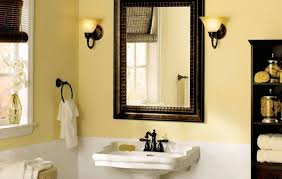 fantastic apartment renovation ideas mixed with goldenrod corner mirrors for bathrooms warm themed bathroom with rectangle shape and dark brown wooden framed model
