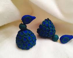 jhumki earring handmade polymer clay jhumka jhumki earrings black