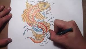 how to draw a koi fish tattoo design quick sketch youtube