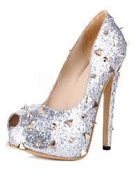 chic zircon metallic spikes women u0027s peep toe shoes milanoo com