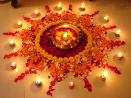 make colorful rangoli with traditional flower at your door during