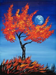 easy fall tree hugging a moon painting class theartsherpa