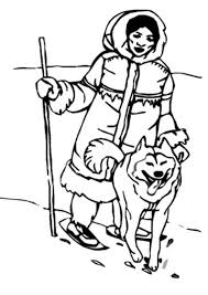 an eskimo hunting with husky coloring page color luna