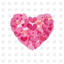 pink heart made from small hearts valentines day sign vector