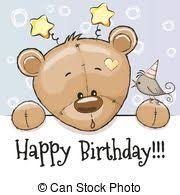 vector clipart of happy birthday card with teddy bear and flower