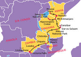 africa map great rift valley 24 day south east adventure topdeck sedunia travel