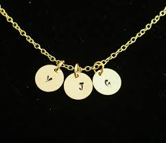 engraved necklaces for 3 initials necklace for siters 18k gold charms for