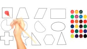 shapes coloring page for kids learning math easily and how to draw