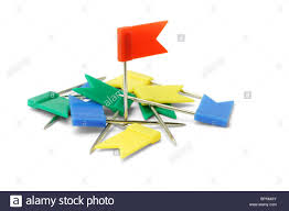 Plastic Flags Multicolor Plastic Flag Pins On White Background Stock Photo