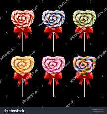 s day lollipops colorful lollipops watercolor heart shaped lollipop stock vector