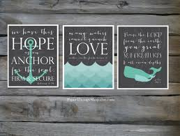 Chalkboard Love And Hope Anchors - 3 nautical prints based on bible verses water whale and