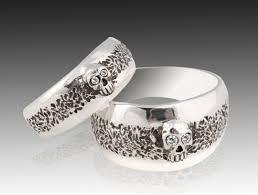 silver wedding ring sets skull wedding ring set sterling silver skull wedding ring set