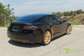 gold and black ferrari black 2015 tesla model s p85d custom ferrari black and black