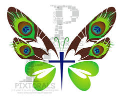 butterfly cross graphic logo colorful vector eps jpg