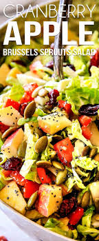 cranberry apple brussels sprouts salad with pumpkin seeds