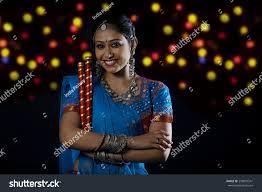 Decorate Dandiya Sticks Home Gujarati Woman Dandiya Sticks Stock Photo 298855541 Shutterstock