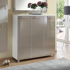 Wohnzimmerschrank F Kleidung Design Schuhkommode In Taupe Weiß Glas Beschichtet 3 Türig Jetzt