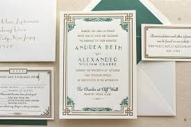 the daisy suite letterpress wedding invitation suite art deco