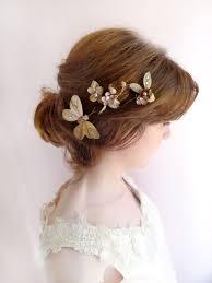 bridal flowers for hair fleur 3 gold floral hair pins