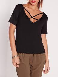 criss cross blouse black criss cross front casual t shirt emmacloth fast