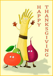 happy thanksgiving card with live vegetables postcards