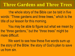 three gardens and three trees t he whole story of the bible can be