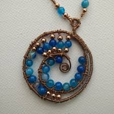 solid copper necklace images Spiraling in natural blue agate solid copper necklace jpg