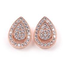teardrop stud earrings amanda pavé teardrop stud earring with halo rosegold