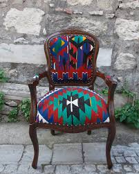 hizhali rug store classic chair covered with kilim