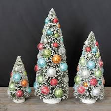co op set of 3 bottle brush christmas trees with balls