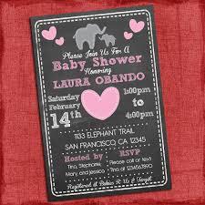 baby shower chalkboard elephant theme baby shower invitation baby girl shower