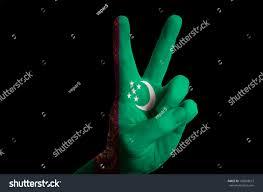 Flag Of Turkmenistan Hand Two Finger Gesture Colored Turkmenistan Stock Photo 106093673