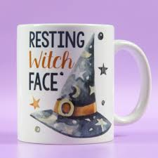 resting witch face halloween witches mug sassy office mug resting