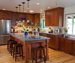 pic of kitchens with vaulted ceilings blue and brown kitchen blue