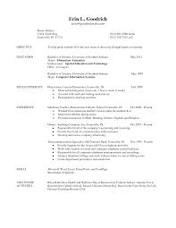 Kindergarten Teacher Resume Samples by Sample First Year Teacher Resume Resume For Your Job Application