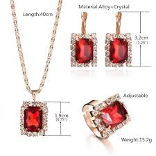 red crystal necklace set images 3pcs set women jewelry sets gold color wedding bridal jewellery jpg