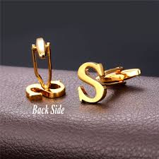 name plated earrings aliexpress buy u7 new alphabet s letter cufflinks fashion