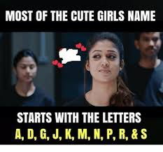 Meme Letters - most of the cute girls name starts with the letters a